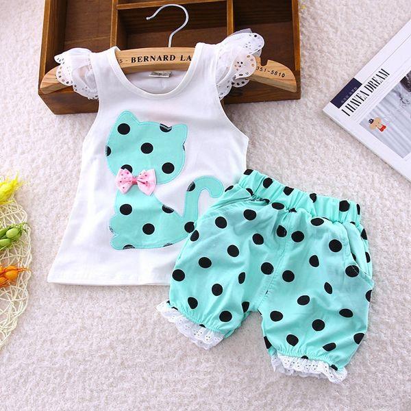 Summer baby girls clothing set children bow cat shirt+shorts 2pcs/set kids polka dot clothes set suit