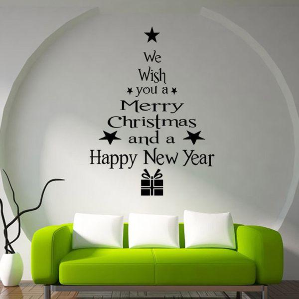Adesivi Murali Natale.Acquista Buon Natale Decor Albero Di Natale Lettere Adesivi Murali Art Decal Murale Finestra Di Vetro Adesivo Da Parete Xmas Home Room Decoration Ami