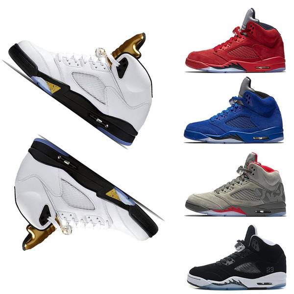 Olympic Metallic Gold sneakers 5 5s Designer Shoes Men OG Black Metallic white Cement men basketball shoes space jam brand Designer Trainers