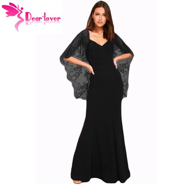 Dear Lover Long Dress 2018 Elegant Black/Red Party Gowns V Cut Open Back Lace Cape Sleeve Maxi Dress Vestido Longo Festa LC61789