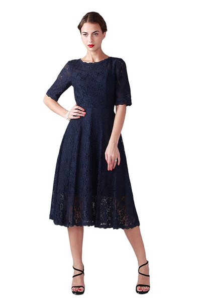 Dark Navy Blue Modest A Line Short Mother Of The Bride Dress Lace Tea Length Custom Made Vintage Half Sleeve Party Gowns