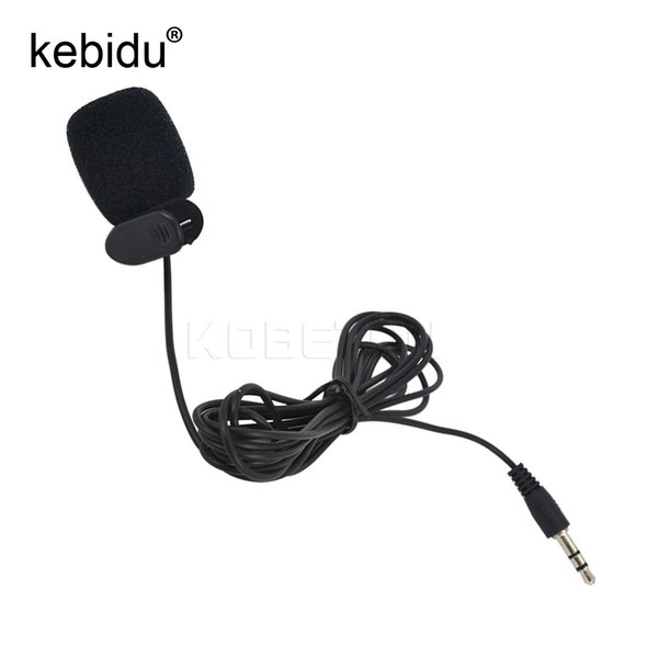 Wholesale-Kebidu Hand Free Portable Super Mini 3.5mm Tie Lapel Lavalier Clip On Mic Microphone For Laptop PC Computer 1.5M Length Cable