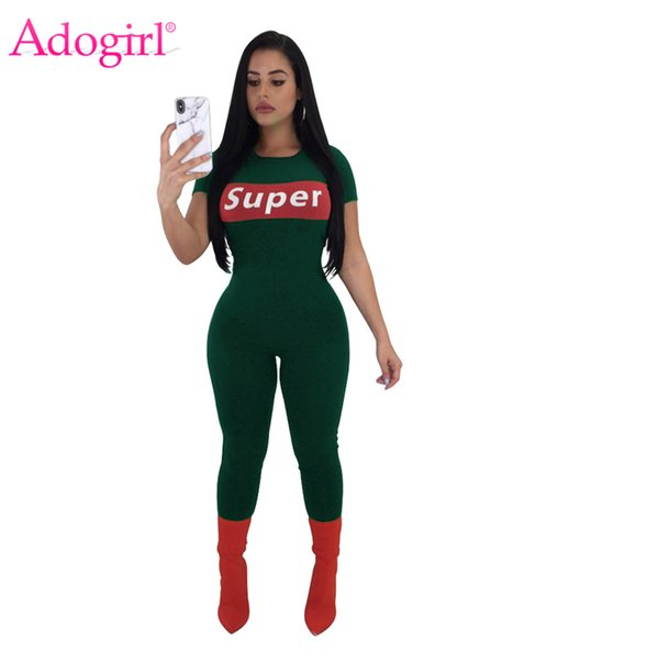 Adogirl Super Letter Print Jumpsuit Women Short Sleeve Rompers Siamese trousers Highly Stretch Slim Overalls Sporting Outfits