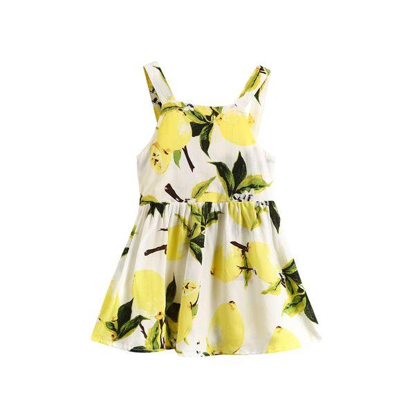 2018 Yenidoğan Kız Parti Düğün Limon Prenses Elbiseler Çocuk Bebek Pageant Örgün Sarı Askı Yaz Dresse 0-24 M