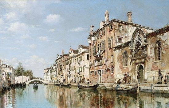 Large Handpainted oil painting Federico Del Campo cityscape Venice Canal in landscape canoes On Canvas Wall Art Home Decor l86