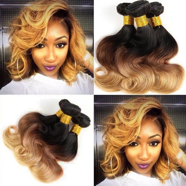 Peruvian Body Wave Human Hair Weaves 1b/430 3 Tone Ombre Color Remy Hair Extensions No Shedding No Tangle Can Be Dyed