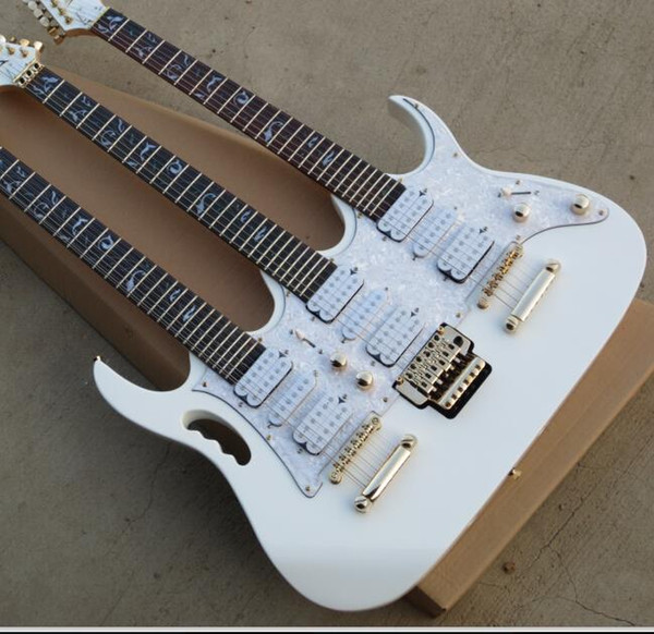 Free Shipping China Custom New arrival white color 6+6+12 Strings 3 neck 6 Strings Electric Guitar 8