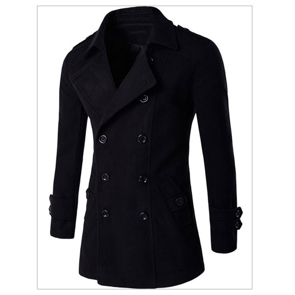 High Quality 2017 Top Sale Long Wool Coat Mens Wool & Blends Cool Winter Men Overcoats Slim Fit Winter Warm Wool Overcoats C105 C18110701