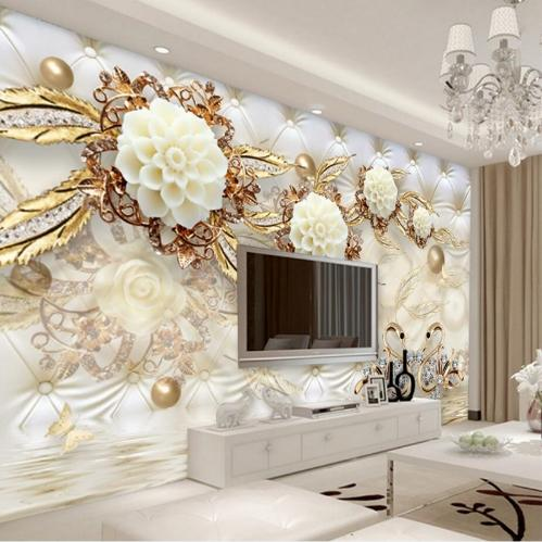 Custom Photo Wallpaper 3D Fresco Wall paper Sticker 3d Luxury Gold White Flower Soft Bag Globe Jewelry TV Background