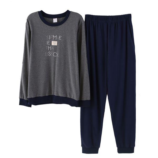 2018 Pajamas Set For Men Long Sleeved Sleepwear Letter Pyjamas Round Neck Piyamas In Autumn Cotton Nightwear Two Pieces Nighties
