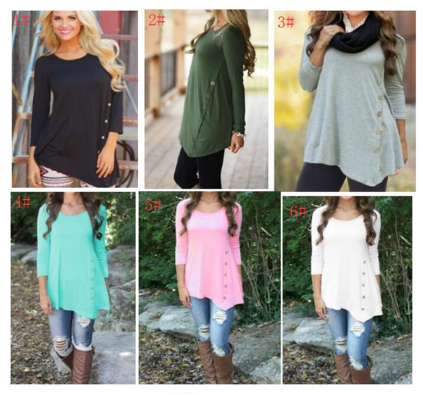 S-6XL Women Sweatshirt Irregular Long Sleeve Side Buttons Tee Blouse Round Neck Tops Pullover Christmas T Shirts For Girls Plus size Colored