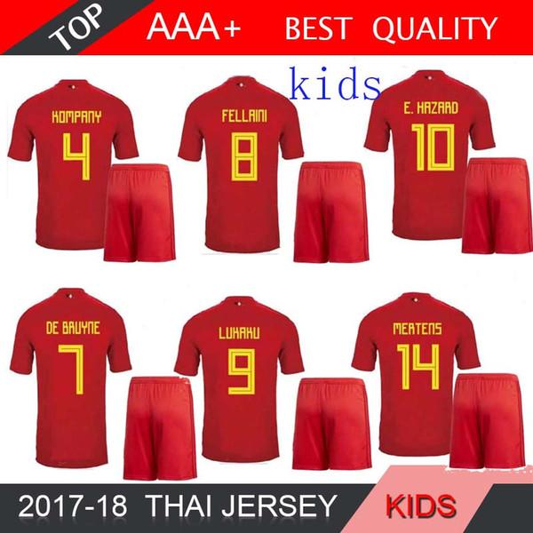 2018 Бельгия чемпионат мира по футболу дети Джерси Лукаку Феллайни е опасности NAINGGOLAN де BRUYNE футбол Джерси 18 19 Бельгия мальчик Таиланд качество