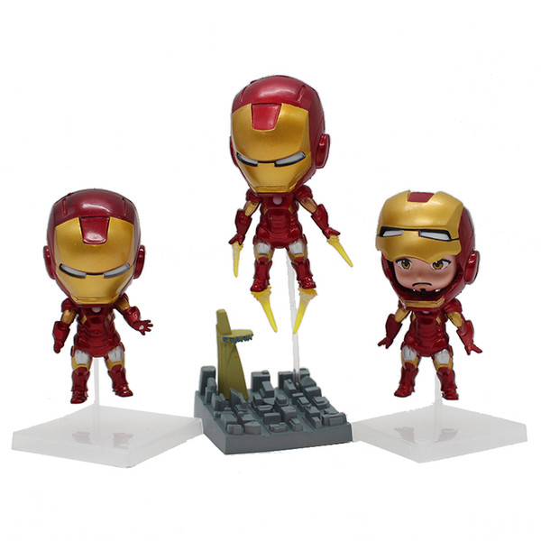 Super Heroes The Avengers Q Iron Man 3pcs/set High Quality PVC Action Figure Toys Dolls New Arrival Free Shipping KT3980