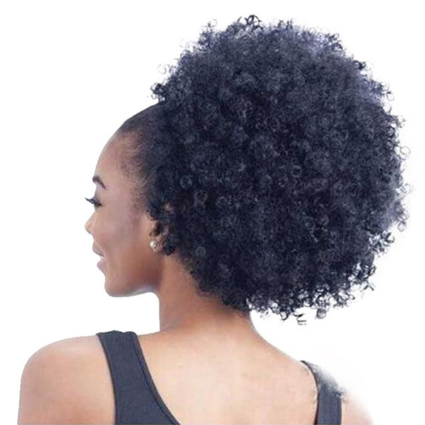 High Puff Afro Curly Ponytail Drawstring Short Afro Kinky Curly Pony Tail Clip in on Brazilian Curly Hair Bun human hair 140g