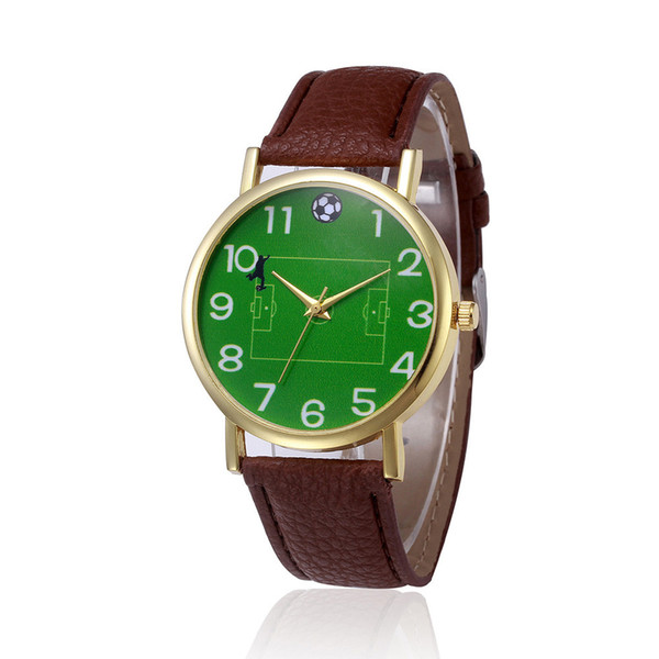 2018 New Design Women Watches With Green Football field PU Leather Band Analog Alloy Quartz Wrist Watch For Women relojes mujer