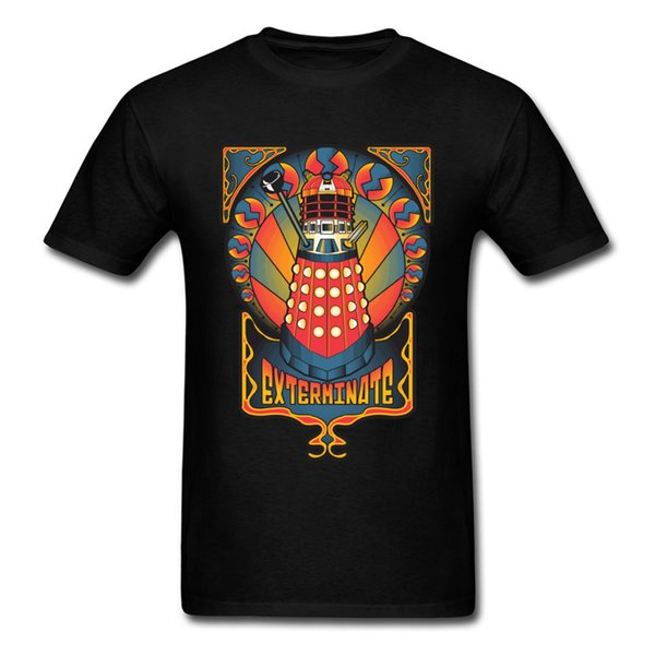 Dalek Nouveau Exterminate Doctor Who Strange Lighthouse Print Men Tops Tees Black Short Sleeve T-shirt Wholesale