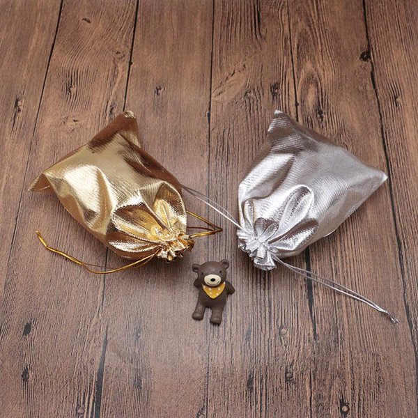 Wholesale Silver/Golden 200 Pcs 13*18cm Small Organza Gift Packaging Jewellery Pouch Drawstring Bag Pounches Jewelry Xmas Gift Bag
