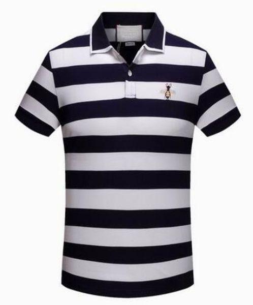 Express 2018 Striped Men POLO Shirts Bee Print Italian Brand Cotton Camisas Polos Summer Spring Male Polo Shirt Red 3XL