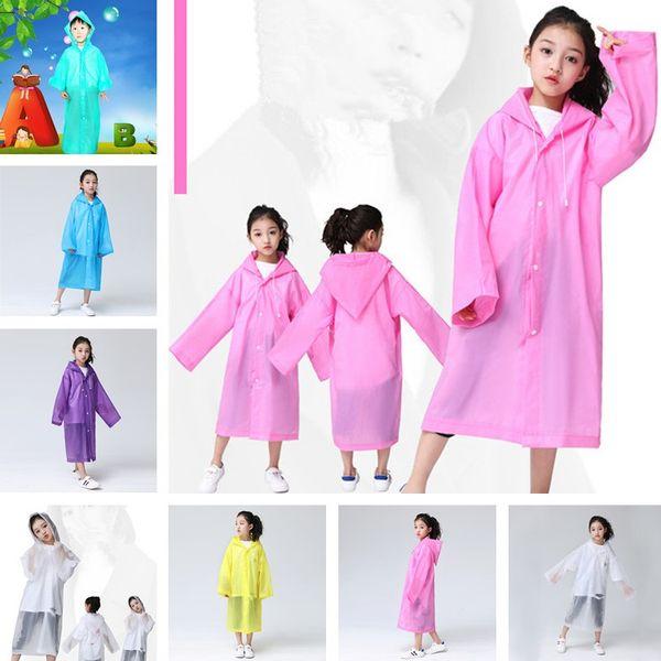 Kids Hooded Transparent Raincoats Rain Coat Poncho Raincoat Cover Long Girl Boy Rainwear 6 Colors T2I354