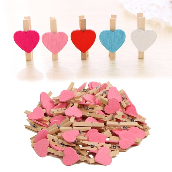 50pcs/set Mini Hearts Wooden Pegs Photo Clamp Holder Photo Clips Craft Wedding Party Decor Photo Wall Decorations