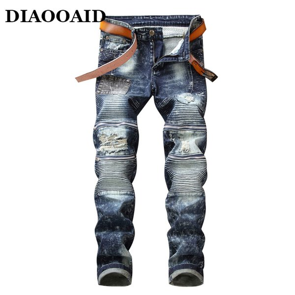 2018 Fashion motorcycle biker jeans with zipper hip hop denim pants ripped blue mens patch male fashion slim straight trousers