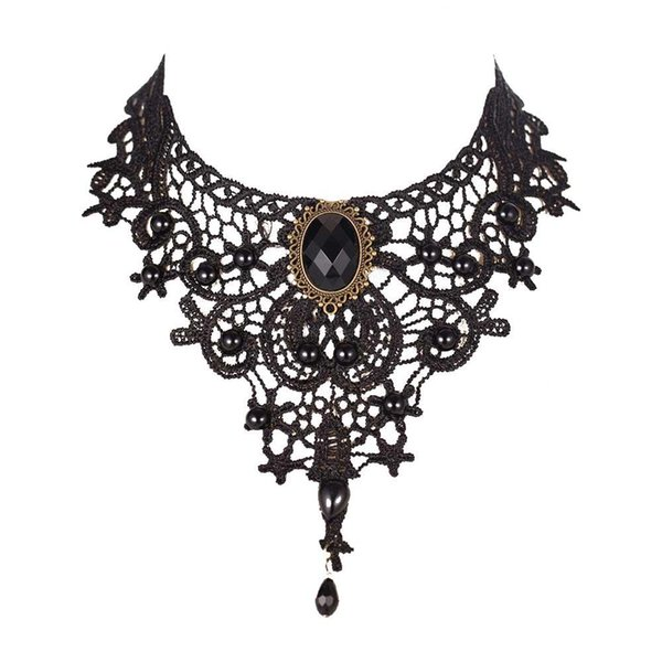 Knock Fashion Necklaces For Women Beauty Girl Handmade Jewerly Gothic Retro Vintage Lace Necklace Collar Choker bib gem chain