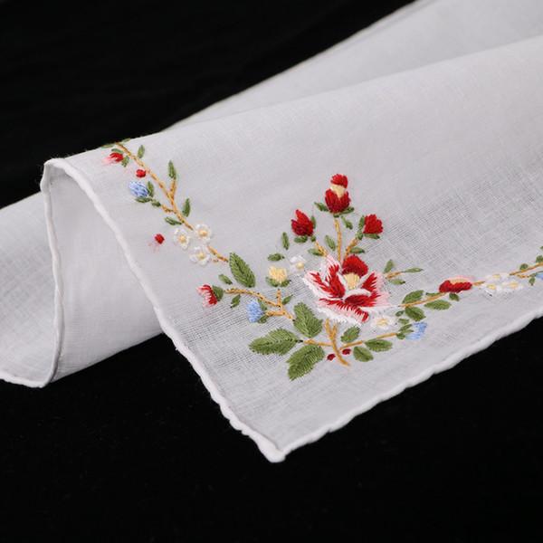 S005-R: Delicato cotone 100% ricamato a mano / ricamo a mano con fazzoletto rosa rosso