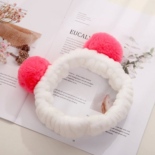Korean version of cute plush hair with two ball loose tight hair tie girls with makeup, face and headwear hair hoop wholesale