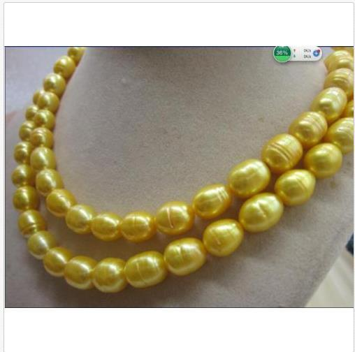 elegant 11-13mm south sea baroque white pearl necklace 35 inch 14k Gold Clasp