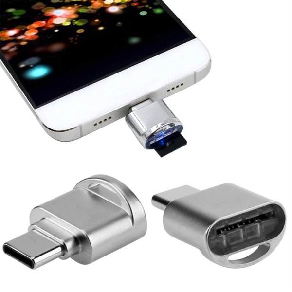 Mini Metall Typ-C Kartenleser Portable Schlüsselanhänger USB 3.1 Typ C Micro SD TF Speicher OTG Kartenleser Für Handy
