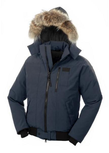 CAN Borden Parka Jacket For Men Real Fur Trim Hood Bomber Coat Duck Down Blue Male Anorak Overcoat