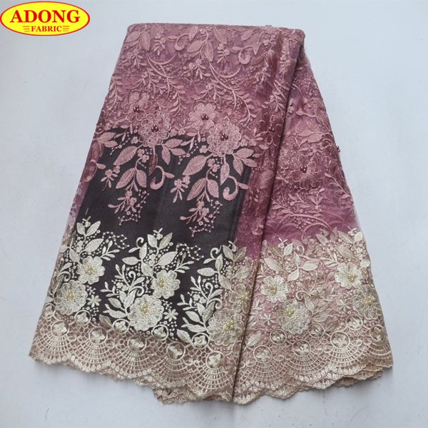 ADONG Cream Hollow Lace Trim Patched Embroider Flower French Tulle Lace Fabric Two Color African Lace Fabric with Stones Beads