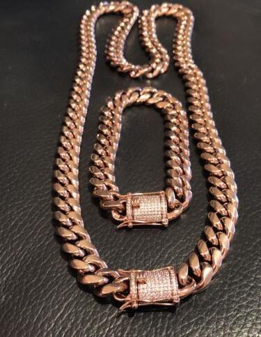 Mens Cuban Link Armband Kette Set 14k Rose Gold Plated 12mm * Diamant-Verschluss *