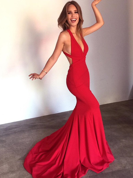 Elegant Straps Mermaid Red Long Formal Prom Dress with Court Train V Neck Backless Soft Satin 2018 Sexy Celebrity Party Evening Gowns