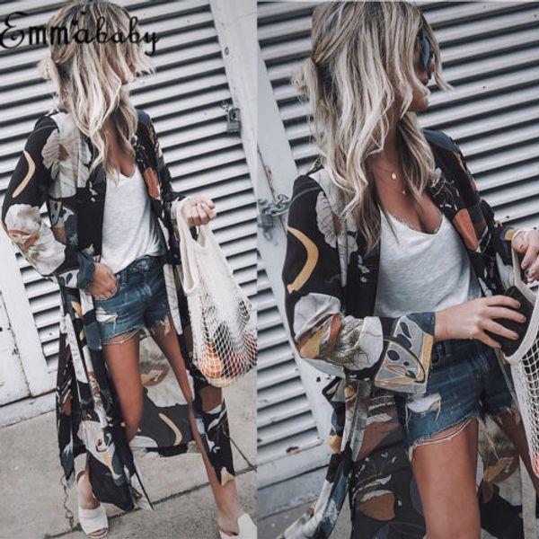 Neue Frauen Vintage Floral Chiffon Shirts Lose Schal Kimono Cardigan Boho Chiffon Tops Lange Sonnencreme Jacke Bluse