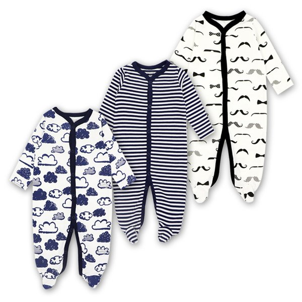 Newborn Rompers Baby Girls Boy Clothes Long Sleeve Sleepsuit 0-12 Months Cute Cartoon Print Outfits Infant Jumpsuit 3 Pieces