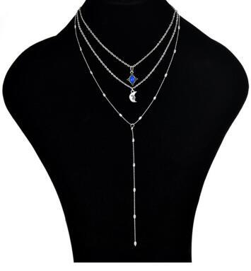 Spiritual fashion multi-layer moon clavicular chain fashion y-type three-layer tassel chain beads chain necklace