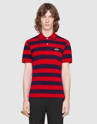 Limited 2018 Fashion Male Polo Shirt Striped with Bee Embroidered Short-Sleeve Italy Men Polo Shirts Casual Polos Homme M-3XL Red