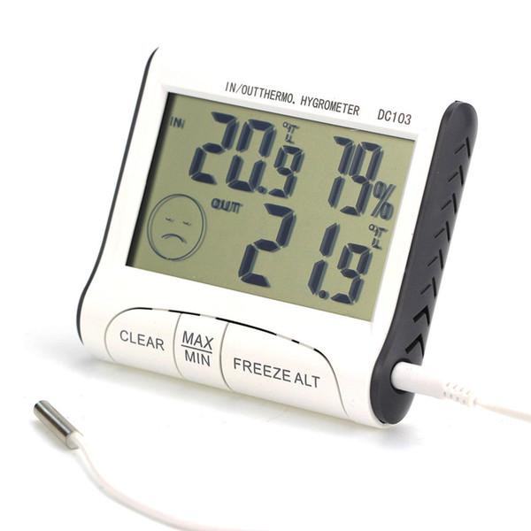 Uso en el hogar DC103 LCD Digtal Pantalla Termómetro Estación meteorológica Humedad Temperatura Higrómetro Exterior Interior Hogar AAA739