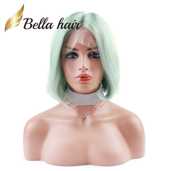 Halloween's Sale Green Color Bob Style Wig Colorful Human Hair Wigs Bob Style Density 180% Thickness Full Lace Wig Julienchina Bella Hair