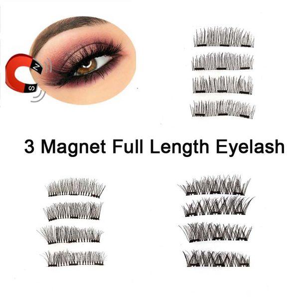 3 Magnet Full Length False Eyelashes Transparent Box Three Magentic Reusable Glue-free Invisible Band Eyelashes Extension Makeup Tools