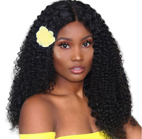 Malaysian Virgin Hair Lace Front Wigs 180% Density Kinky Curly Full Lace Human Hair Wig for African American Ping