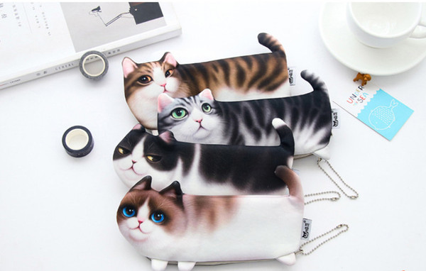 wholesale free shipping pencil case 20pcs\lot apanese and Korean cute Large capacity three foot cat pen bag008
