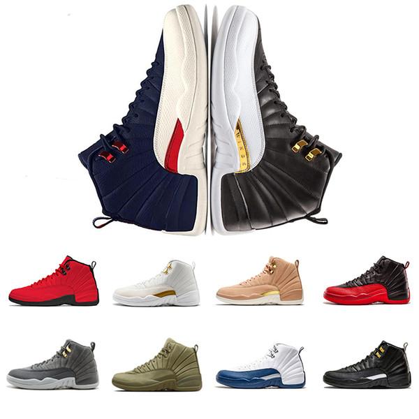 Retro Air Jordan 12 AJ12 Usine en gros chaussures de basket-ball pour hommes 12 s maître français bleu WINGS laine noir blanc séries éliminatoires athlétique