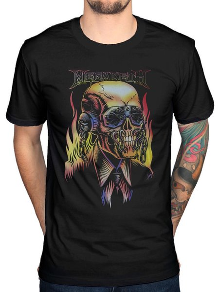 Official Megadeth Flaming Vic T-Shirt Skull Peace Sells Countdown Extinction Cheap Sale 100 % Cotton top tee Loose Clothes