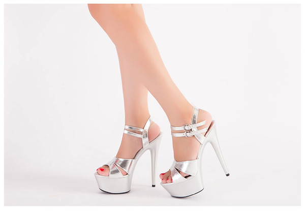 Shoes Women 2018 Summer New ultra-thin 15 cm High-heeled Platform Sandals Party Shoes Silver Shoes Catwalk Models Size 34-44