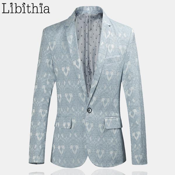 Blau Von Party Kleidung Khaki Casual Anzug Masculino Schwarz Männer Herren Slim One Button Jacken Muster Blazer Großhandel Männlichen F034 Fit VqUzMSpG
