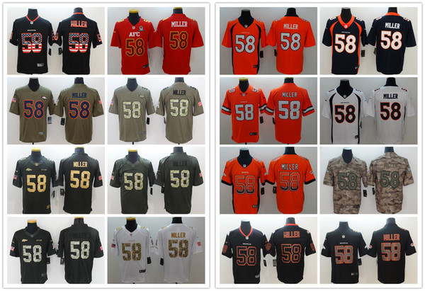 wholesale dealer cb9c5 0eccc 2018 2019 New Mens 58 Von Miller Denver Broncos Jerseys 100% Stitched  Embroidery Broncos Von Miller Color Rush Football Jerseys Best Quality From  ...