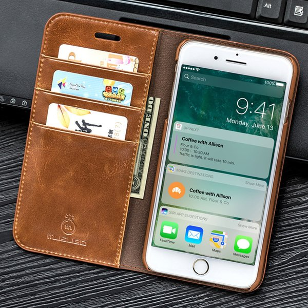 Genuine Luxury Leather Magnet Flip Case For iPhoneX 6 8 Plus 7 Plus Luxury Wallet Fitted Cover For Samsung note9 8 Cases Free Shipping