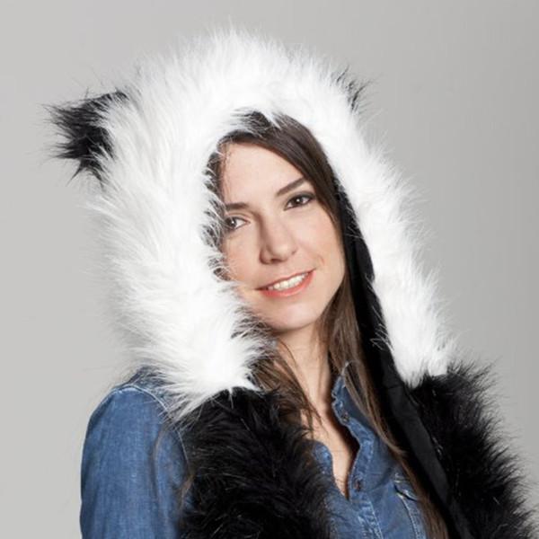 Unisex 3 In 1 Artificial Animal Scarf Hat Glove Sets Hood Ear Flaps Hand Pockets Warm Fluffy Plush Skullies Novelty Beanies